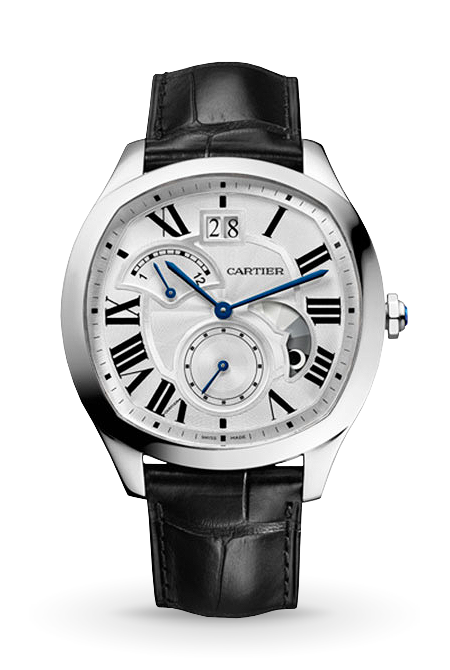 DRIVE DE CARTIER, LARGE DATE, RETROGRADE SECOND TIME ZONE STEEL